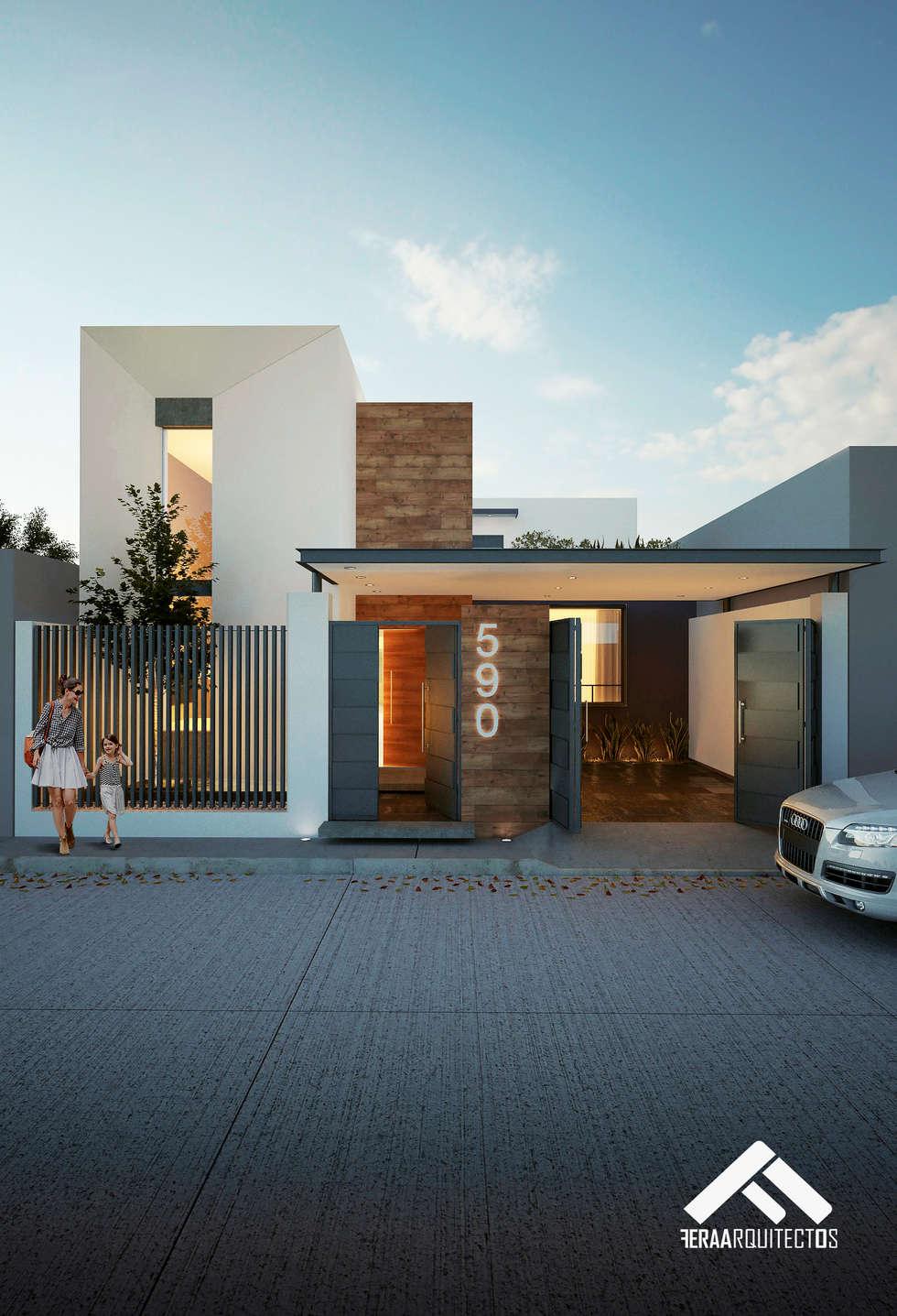 Fachada principal casas de estilo moderno por for Pisos modernos para casas minimalistas