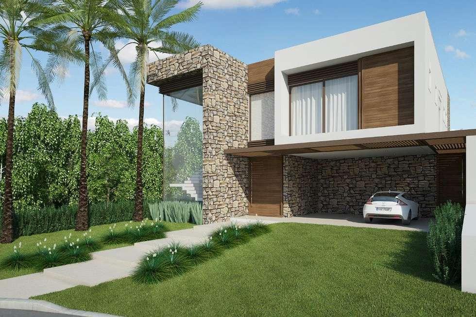 Fachada casas modernas por quitete faria arquitetura e for Fotos de casas modernas terreas