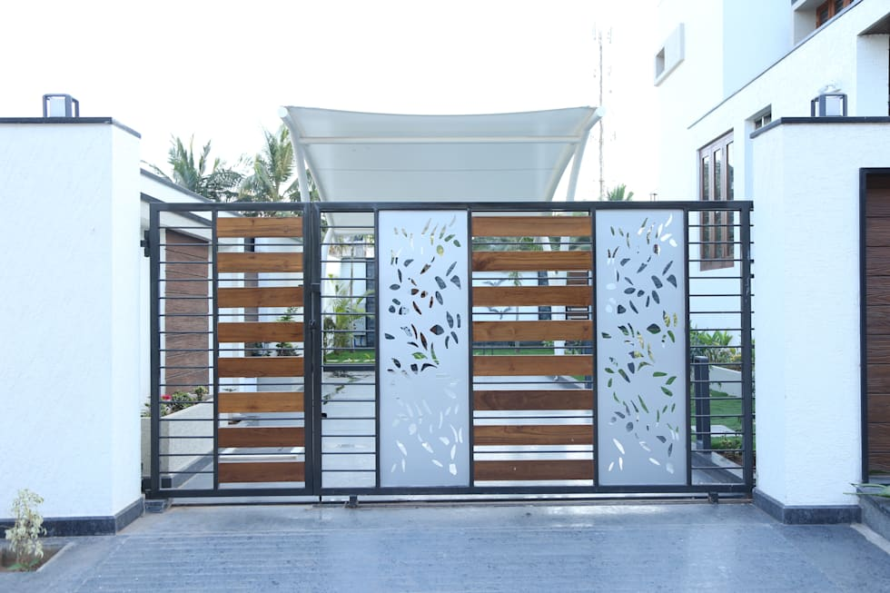Car Parking Area Gate on Modern Front House Elevation Designs
