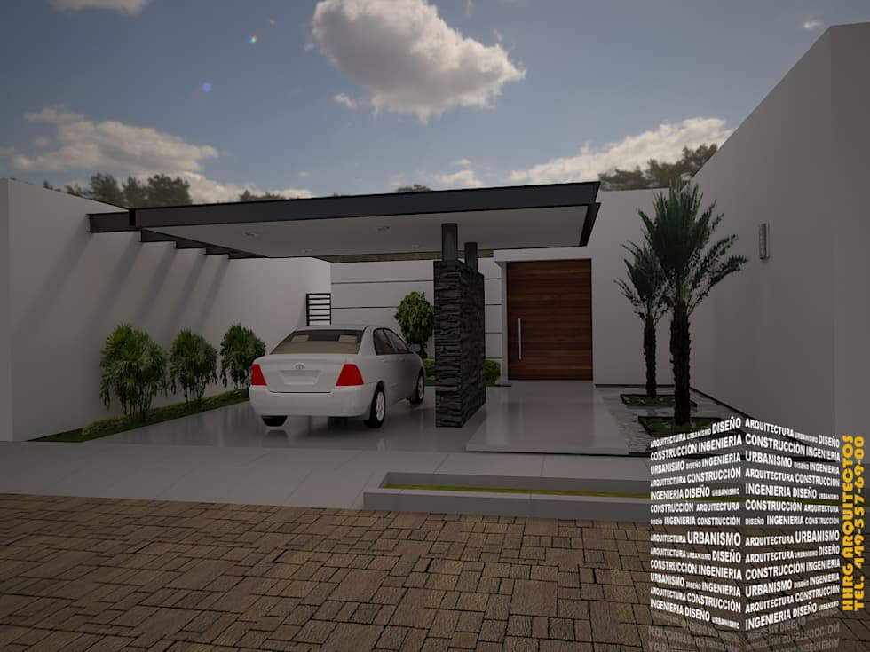 Cochera techada casas de estilo minimalista por hhrg for Foto casa minimalista