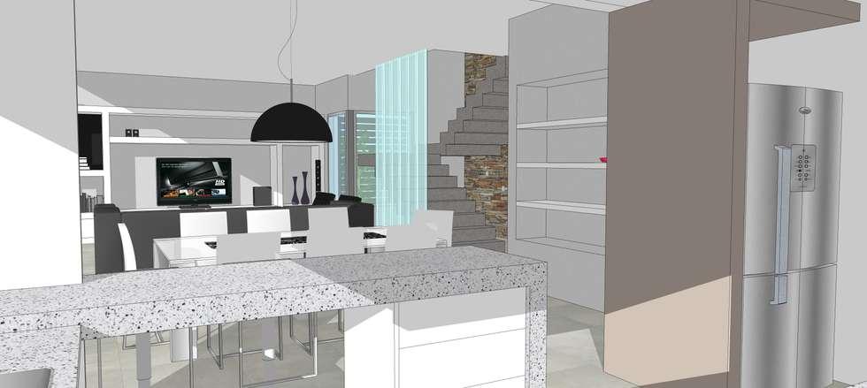 Perspectiva Interior: Comedores de estilo moderno por Arq. Noelia Lazzarini