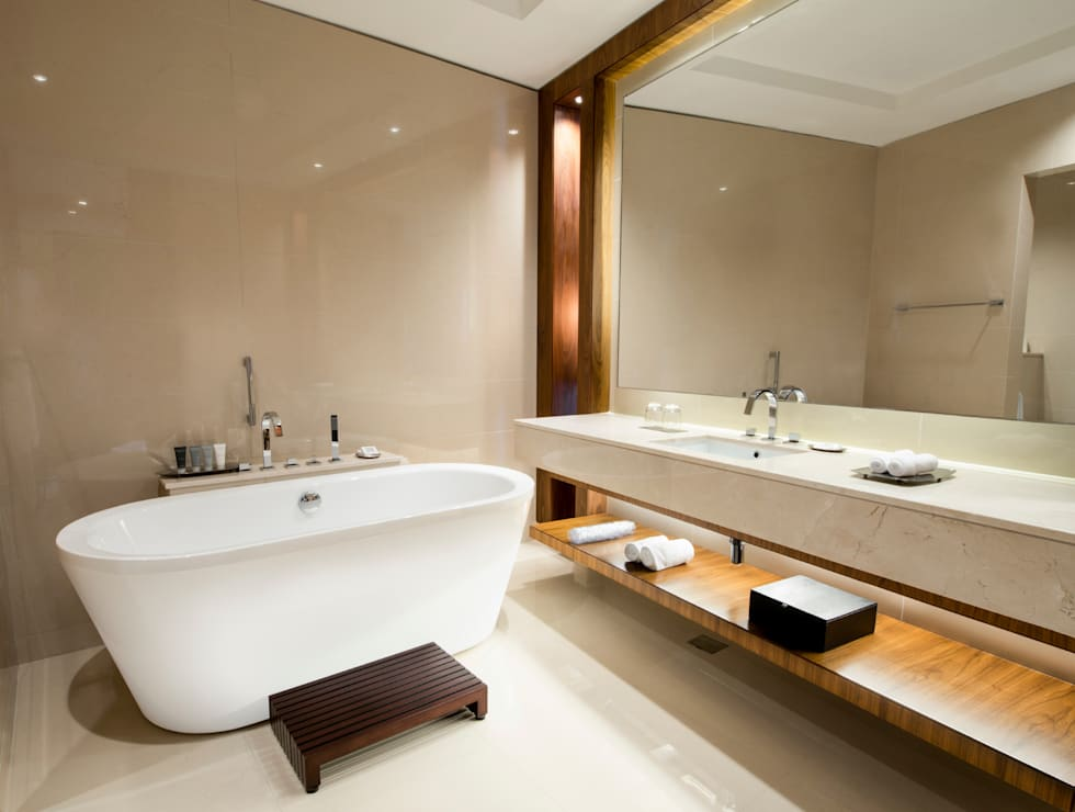 with wood details modern bathroom by gracious luxury interiors