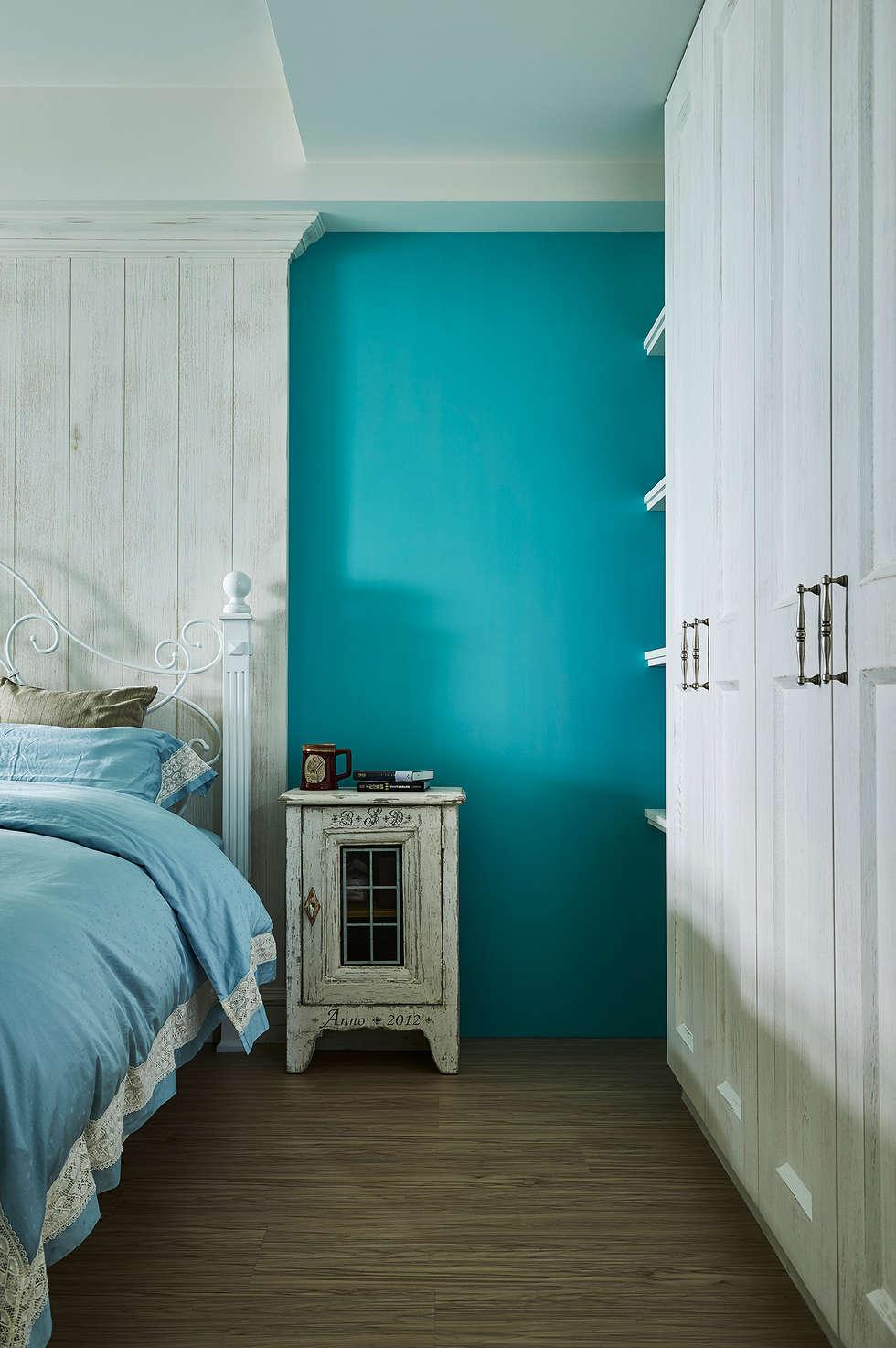 蒂芬妮藍 ×復古白,刷出寧靜夢幻感:  臥室 by 青瓷設計工程有限公司