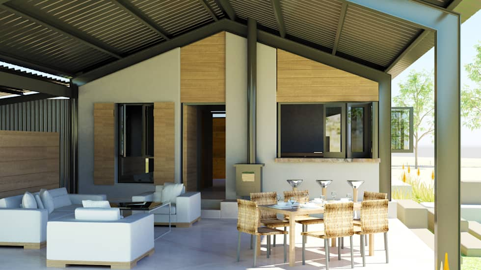 Steel Framed Home - entertainment area: modern Houses by Edge Design Studio Architects