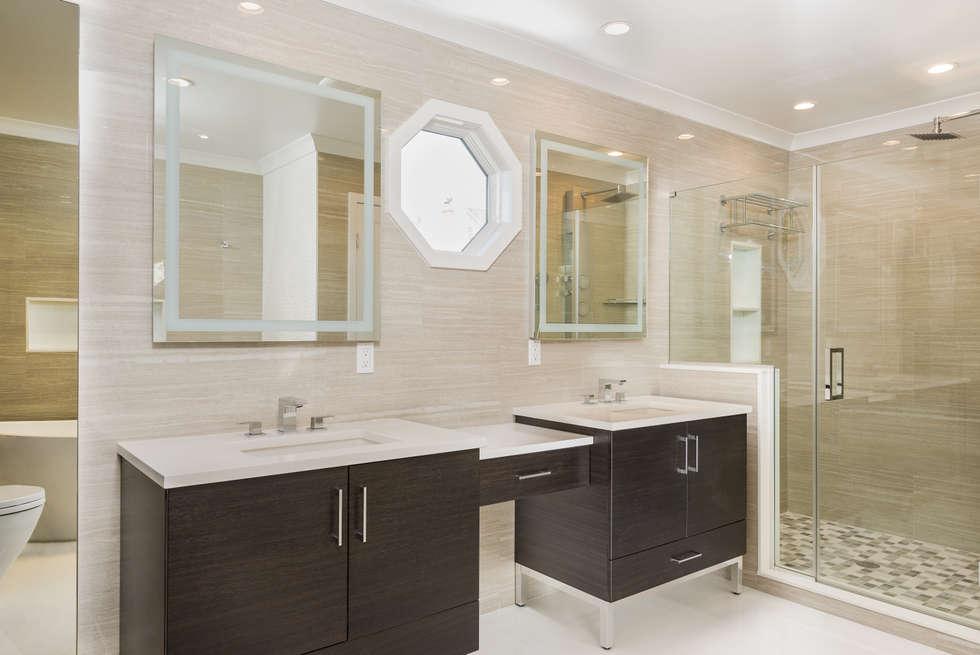 Master Bathroom with Porcelanosa Tile: modern Bedroom by HOMEREDI