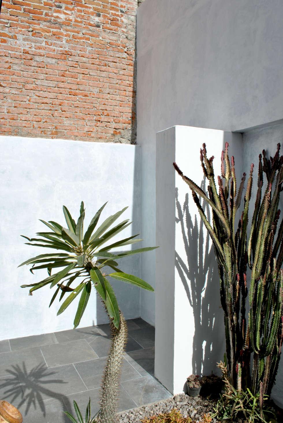 DETALLE ACCESO A BAÑO DE HOMBRES : Espacios comerciales de estilo  por Novhus Oficina de Arquitectura