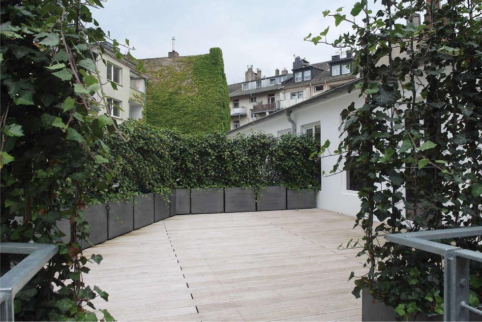 Terrasse à Düsseldorf : Ensemble de jardinières patinées Zinc clef en main !: Hôtels de style  par ATELIER SO GREEN