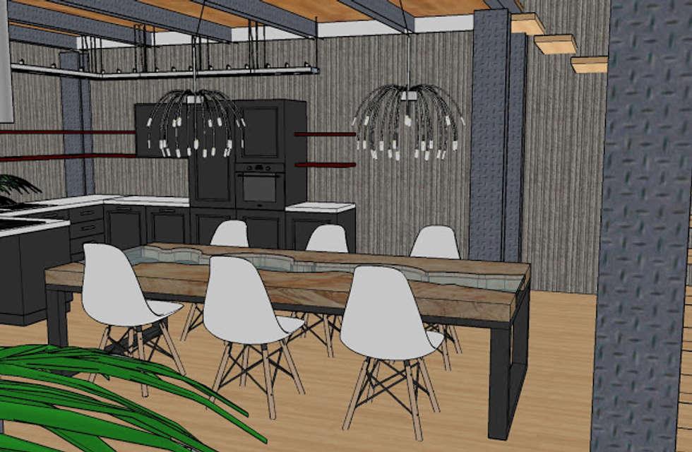 ZONA PRANZO: Sala da pranzo in stile in stile Industriale di INTERNO 75