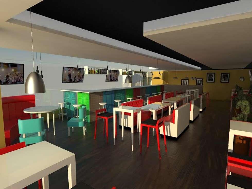 RENDER TOTAL: Bares y discotecas de estilo  por KAYROS ARQUITECTURA DISEÑO INTERIOR