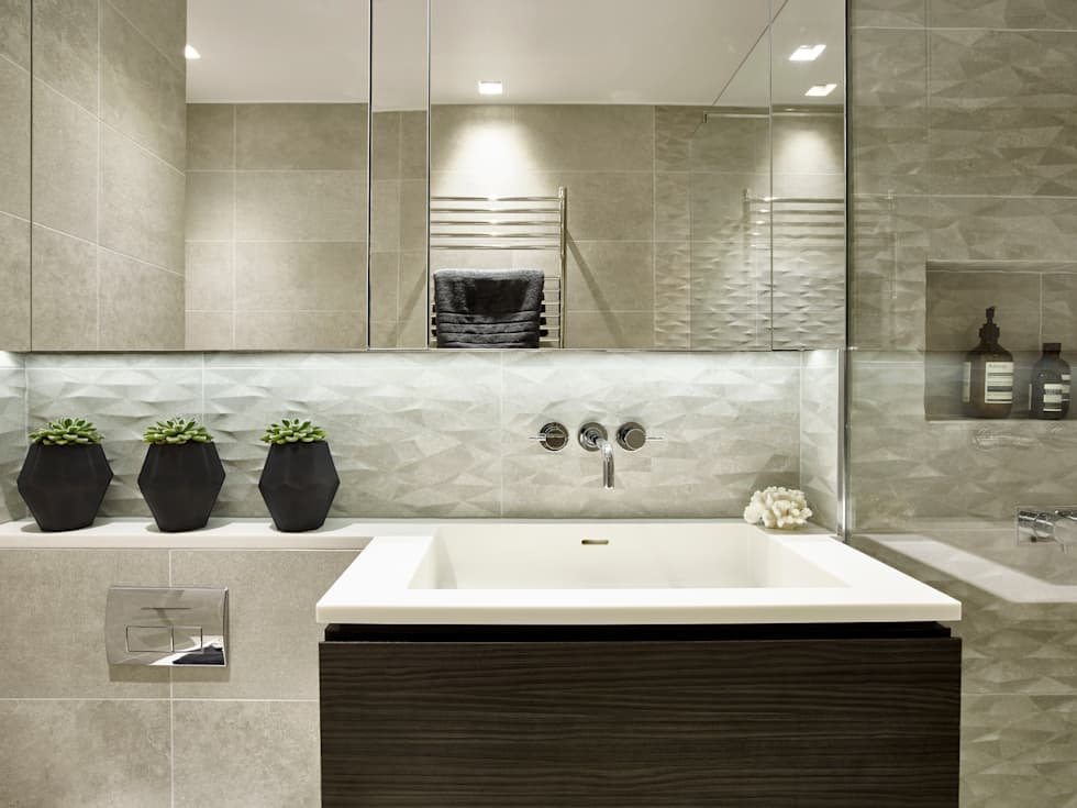 Small Bathroom: modern Bathroom by Tailored Living Interiors