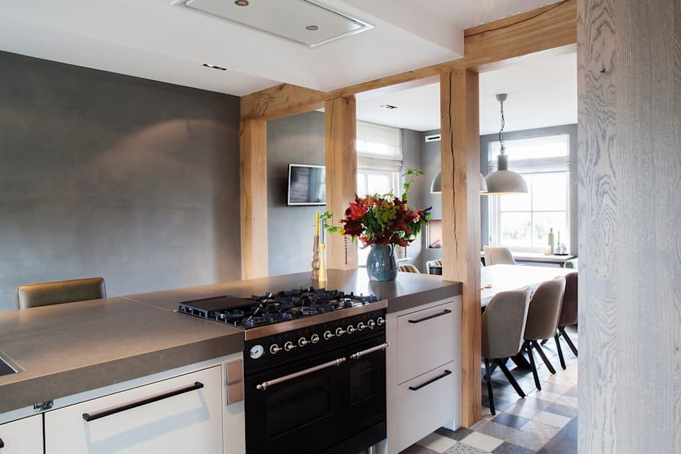 Stoere Keuken Wood : Keuken stoer eiken hout met werkplek industriële keuken door wood