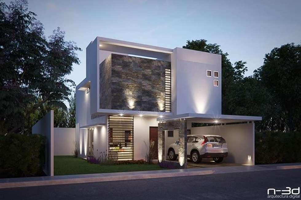 Maqueta electrónica Fachada Principal: Casas de estilo minimalista por FERCO