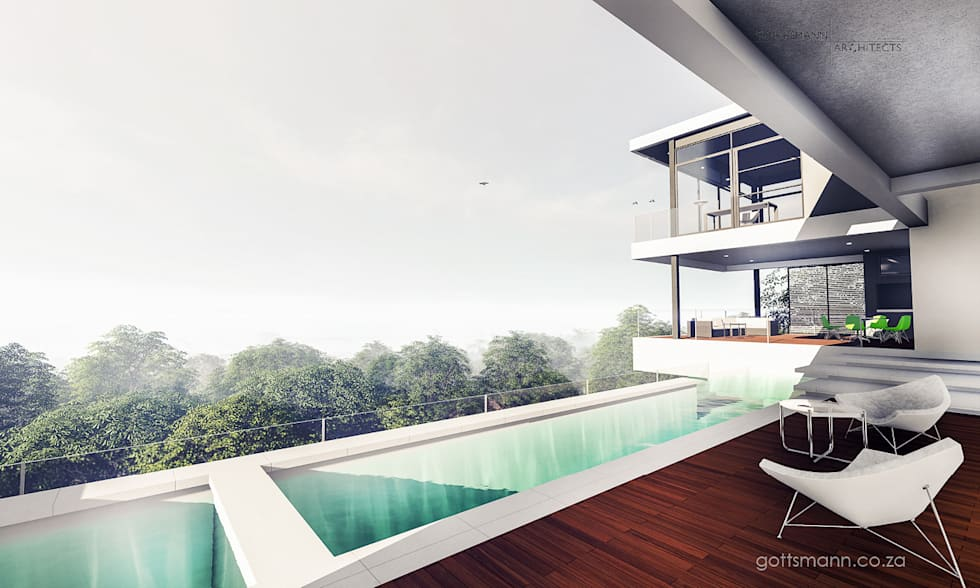 Views from Deck and Pool: modern Pool by Gottsmann Architects