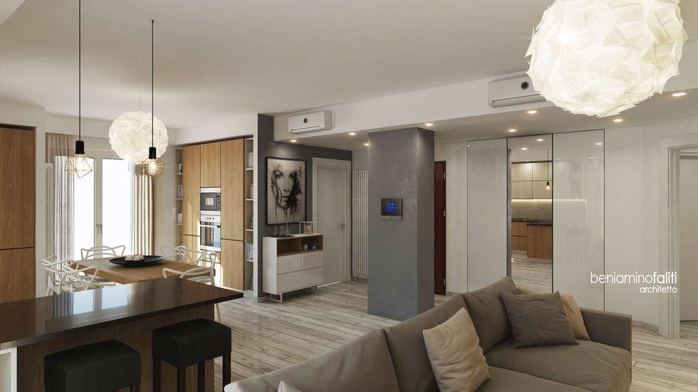 Zona living: Cucina in stile in stile Moderno di Beniamino Faliti Architetto