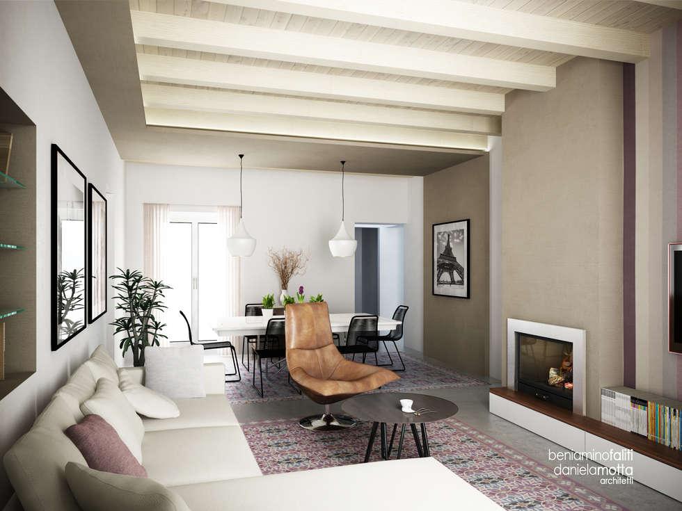 Arredamento vintage: Soggiorno in stile in stile Moderno di Beniamino Faliti Architetto