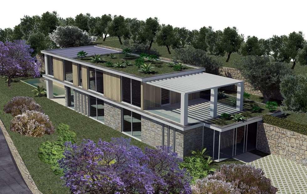 Fabbricato residenziale unifamiliare: Case in stile in stile Moderno di Fabrizio Alborno Studio di Architettura ALBORNO\GRILZ
