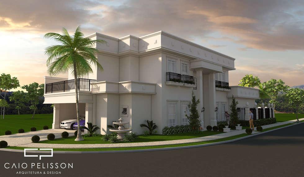 Projeto casa sobrado neoclassico terreno esquina fachada for Foto arredamento casa classica