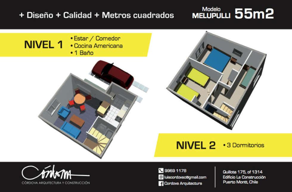 Vivienda Melipulli.: Casas de estilo moderno por Cordova Arquitectura y Construcción .
