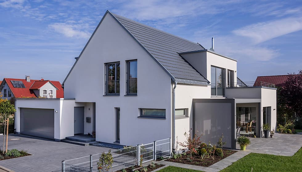Wohnideen interior design einrichtungsideen bilder for Haus mit satteldach modern