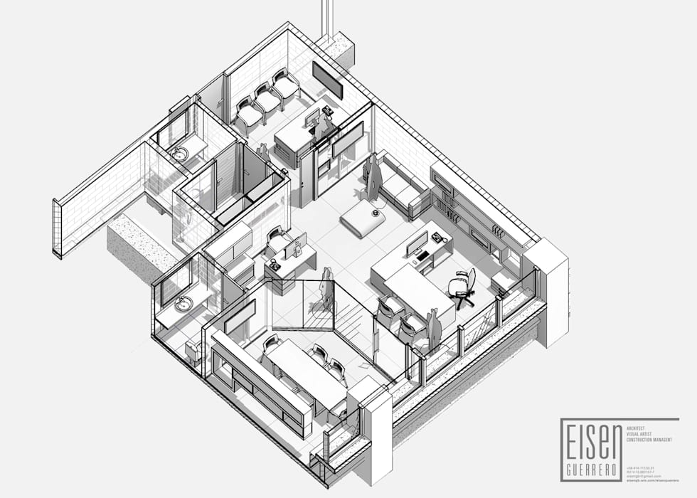 Isometría Corte3D Planta Lineal.: Oficinas de estilo minimalista por Eisen Arquitecto