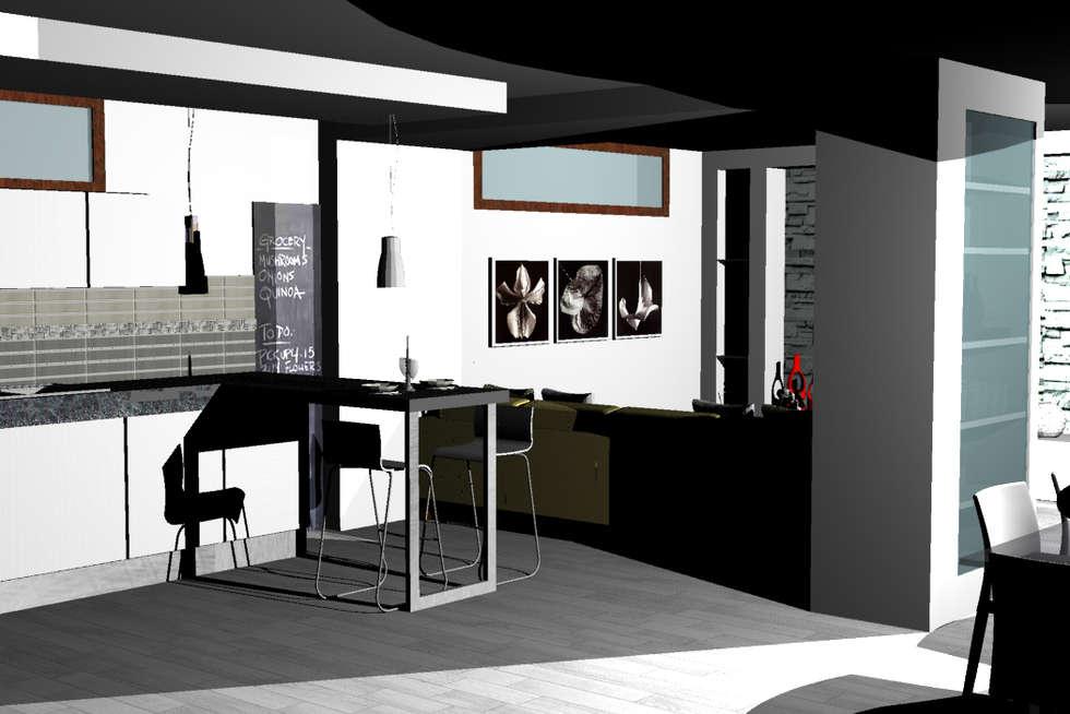 RISTRUTTURAZIONE OPEN SPACE INFERNETTO: Cucina in stile in stile Moderno di HAPPY HABITAT - STUDIO DI ARCHITETTURA SABRINA AURELI