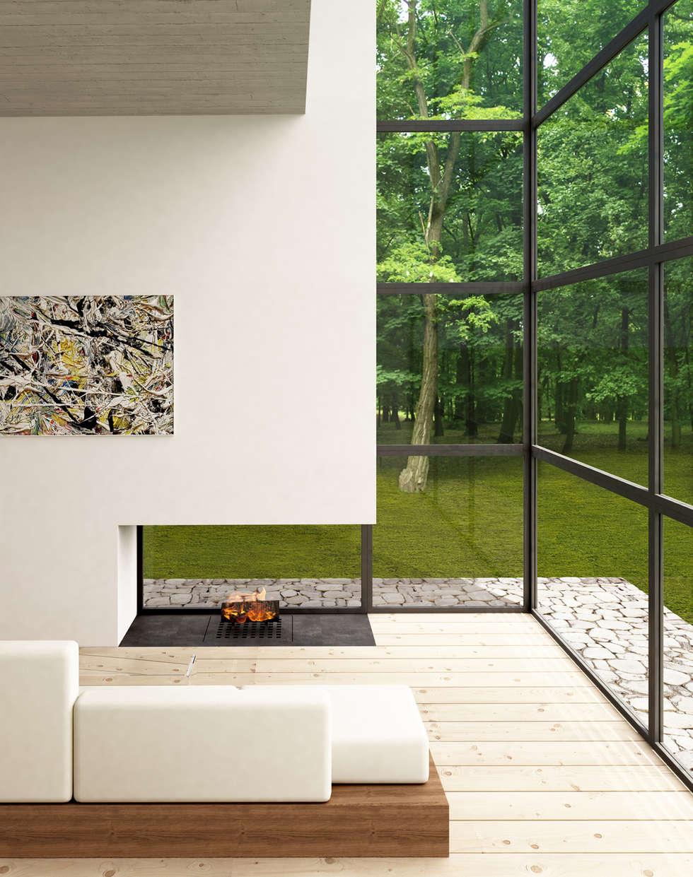 living 02: Soggiorno in stile in stile Minimalista di Horizon Studio