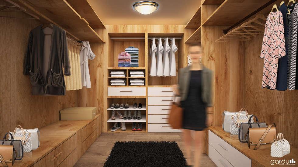 Closeth Moderno: Vestidores y closets de estilo minimalista por GarDu Arquitectos
