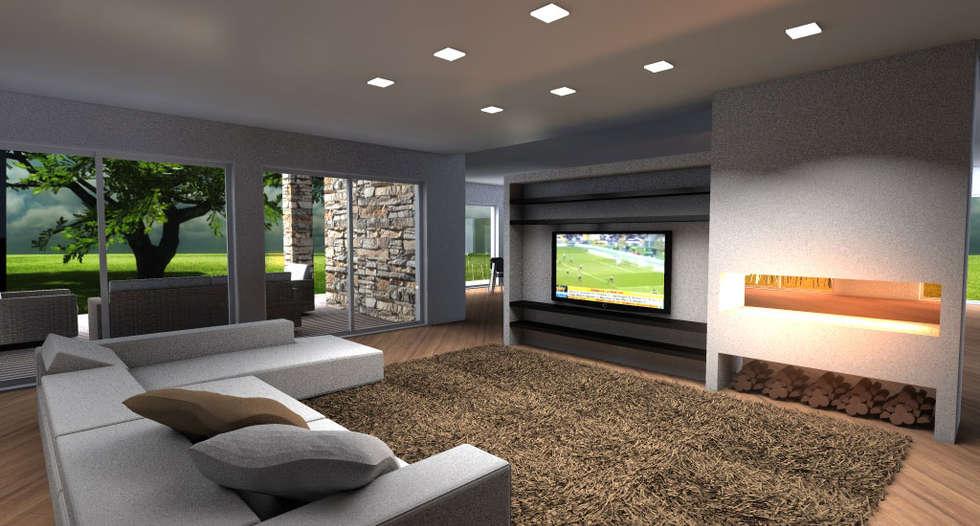 Living moderno con parete attrezzata tv e camino: soggiorno in stile ...