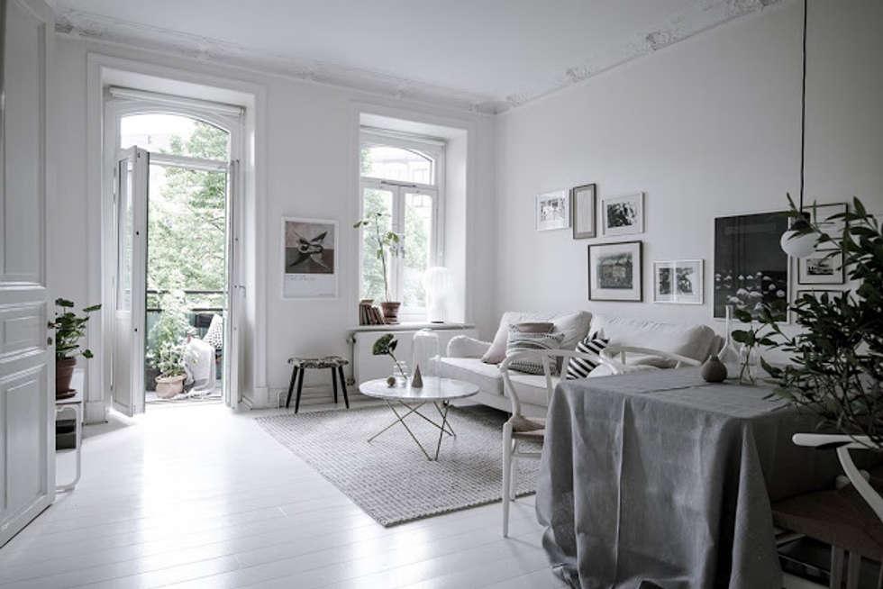 foto di soggiorno in stile in stile scandinavo : 50 sfumature di ... - Soggiorno Total White
