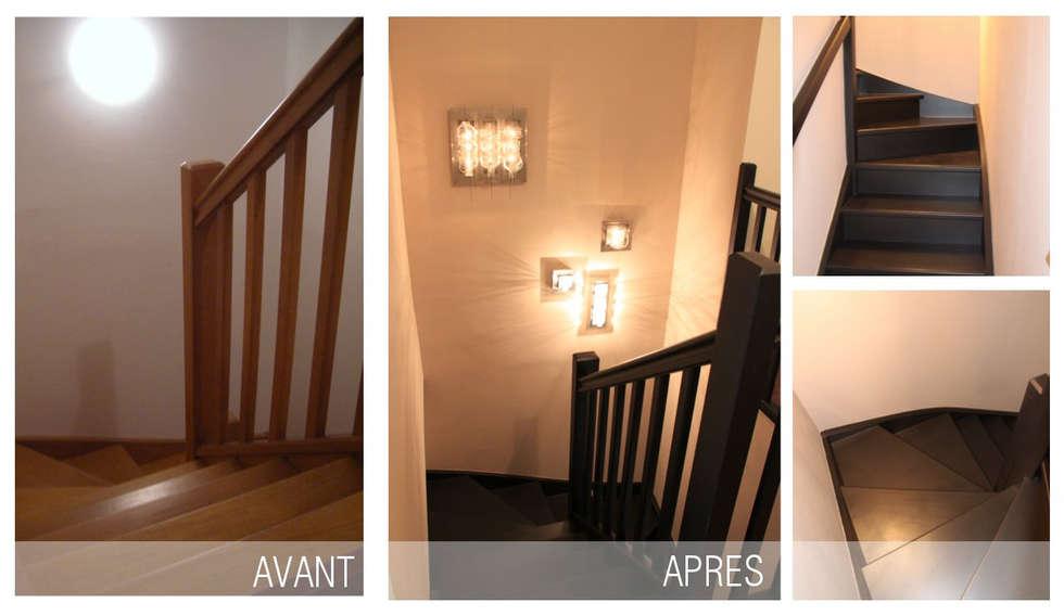relooking d'un escalier: Couloir et hall d'entrée de style  par SVM Claire Humeau
