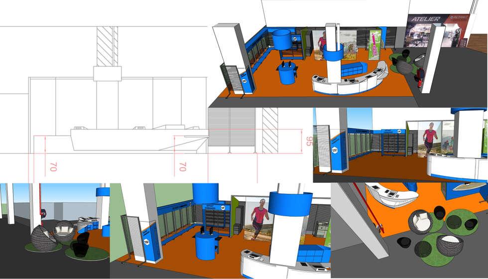 Espace accueil phase d'esquisse: Locaux commerciaux & Magasins de style  par SVM Claire Humeau