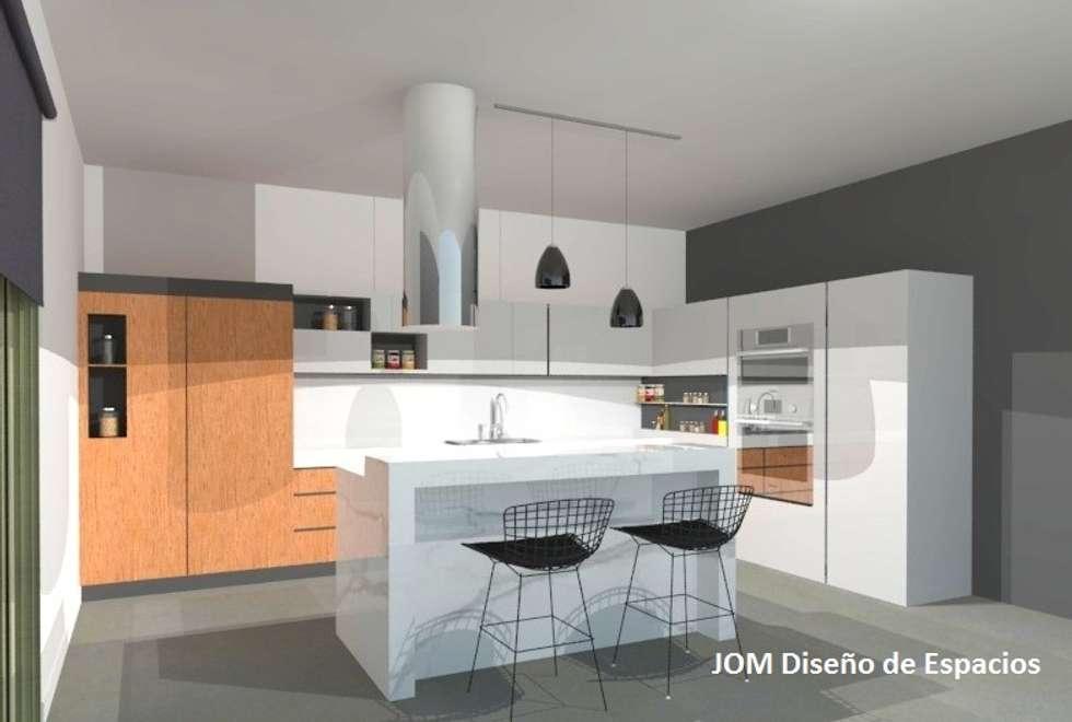 Cocina con isla: Cocinas de estilo minimalista por JOM Diseño de Espacios