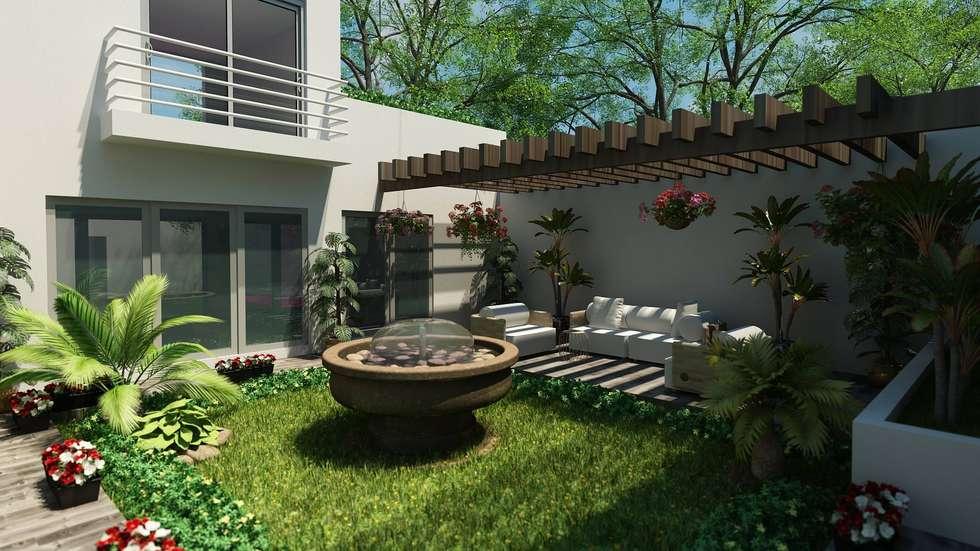 AREA JARDIN: Jardines de estilo moderno por OLLIN ARQUITECTURA