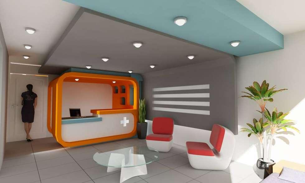 """AREA RECEPCION EN CLINICA DE EMERGENCIAS """"EM MEDICA"""": Estudios y oficinas de estilo minimalista por OLLIN ARQUITECTURA"""