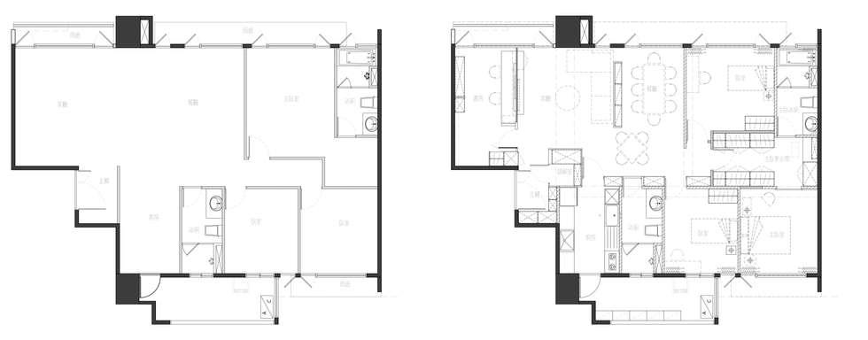 原始平面圖與改造後平面圖:  房子 by 大丘國際空間設計 ABMIDS