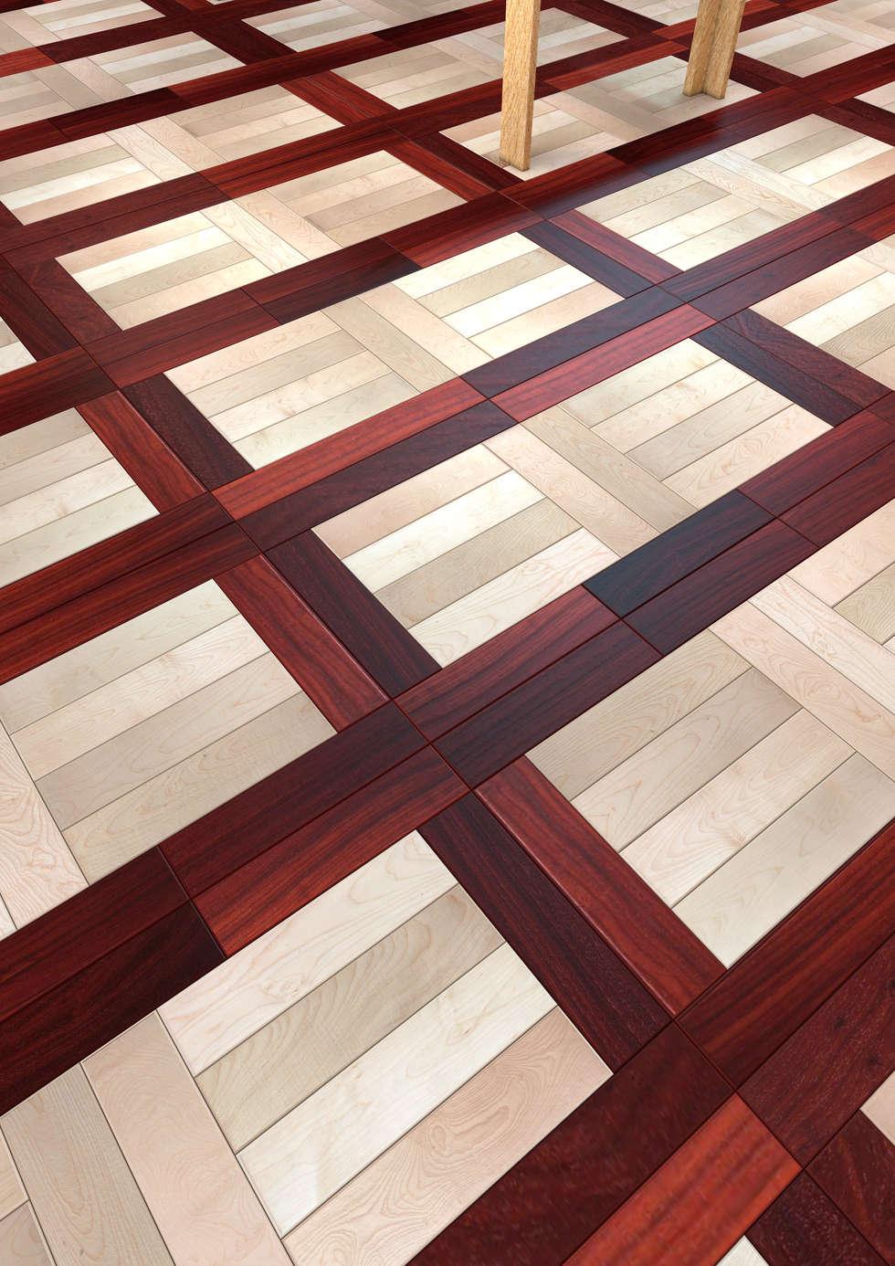 Model #3 - Padouk Rosso Africa & Acero Bianco Europeo: Sala multimediale in stile  di Ciambella Legnami Srl