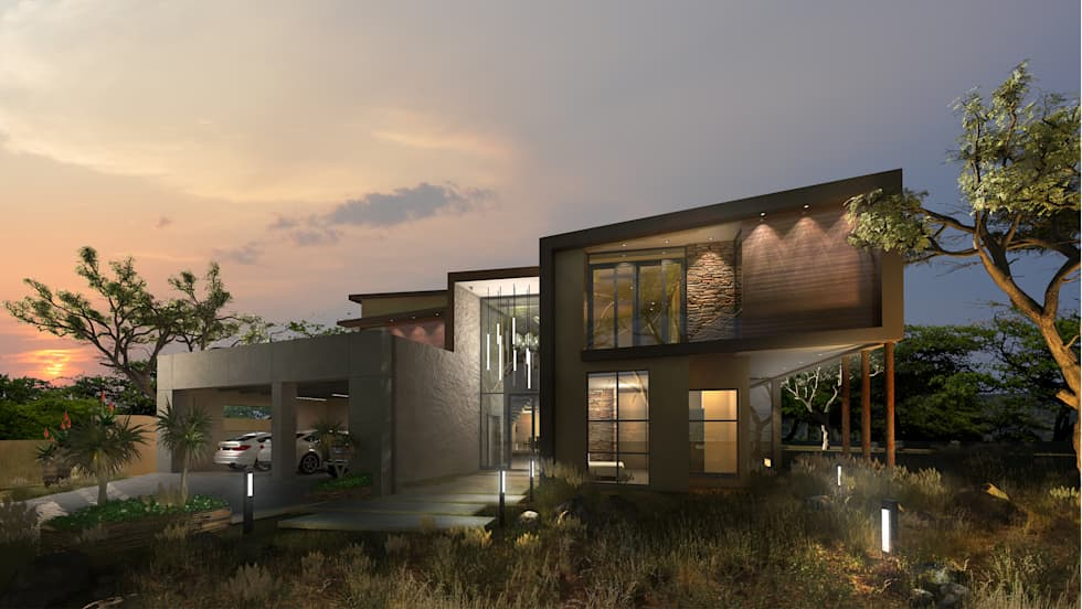 Entrance Perspective: modern Houses by Koen and Associates Architecture