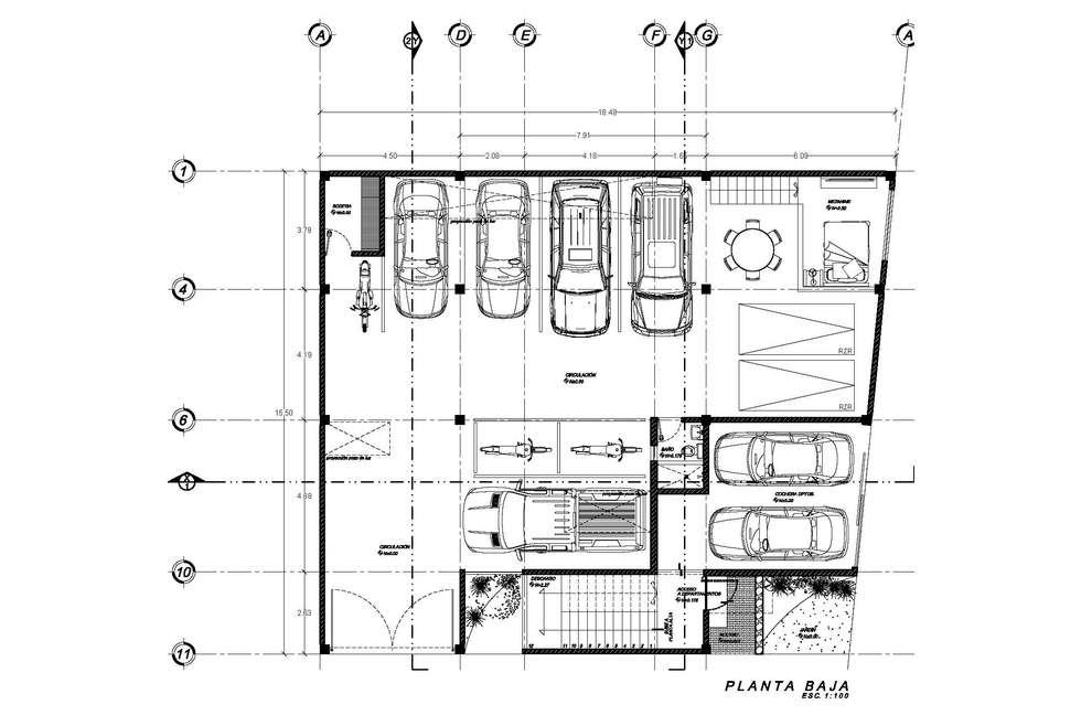 Planta Baja del Proyecto: Recámaras de estilo ecléctico por HF Arquitectura
