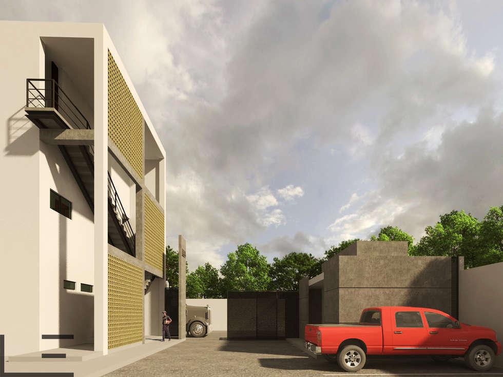 OFICINAS H - ACCESO: Estudios y oficinas de estilo moderno por LARA ESCALANTE ARQUITECTURA Y CONSTRUCCIÓN