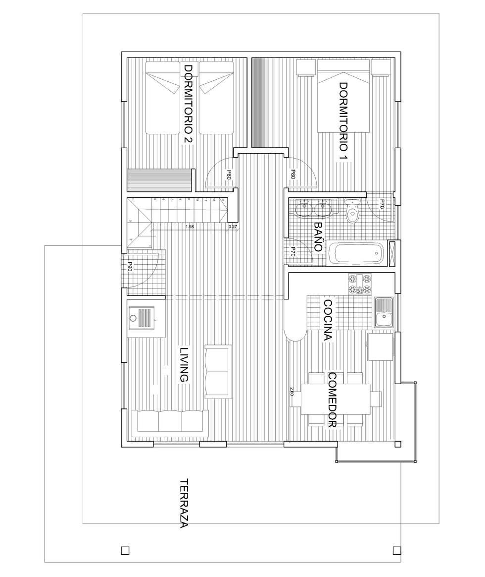 Planta 1: Comedores de estilo rústico por Arquitectura y Construcción Chinquel