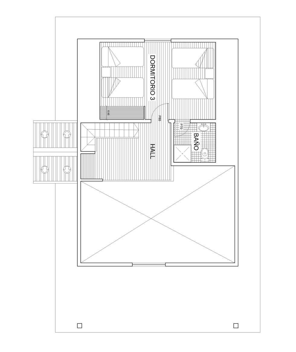 Planta 2: Dormitorios de estilo rústico por Arquitectura y Construcción Chinquel