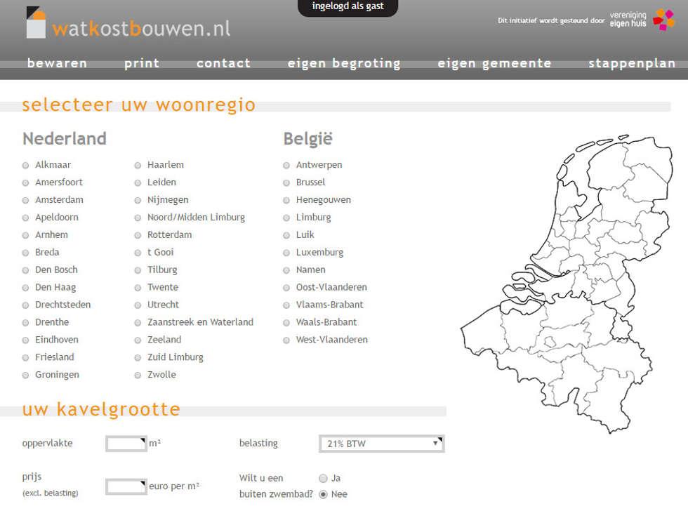 Bereken uw (ver)bouwkosten:   door watkostbouwen.nl