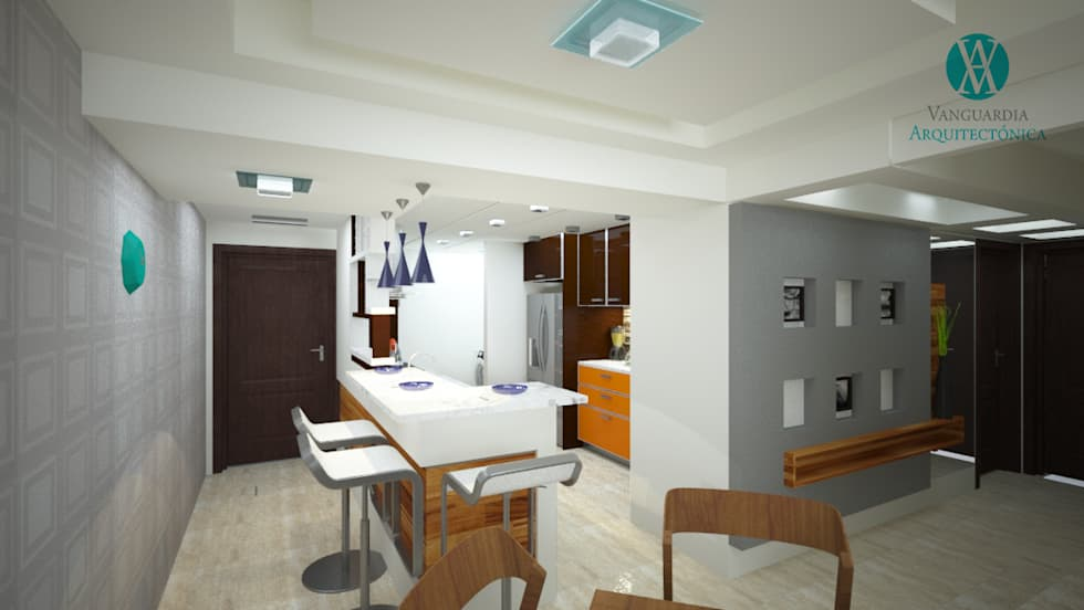 Interiorismo en apartamento : Salas / recibidores de estilo moderno por Vanguardia Arquitectónica