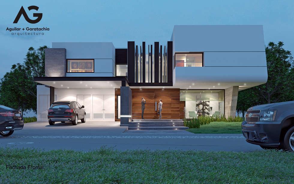 Fachada Frontal: Casas de estilo moderno por Aguilar + Gartachia arquitectura