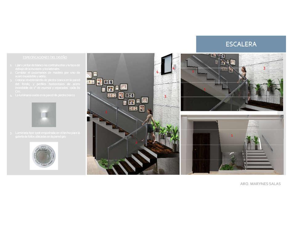 Escalera: Pasillos y vestíbulos de estilo  por Arq. Marynes Salas