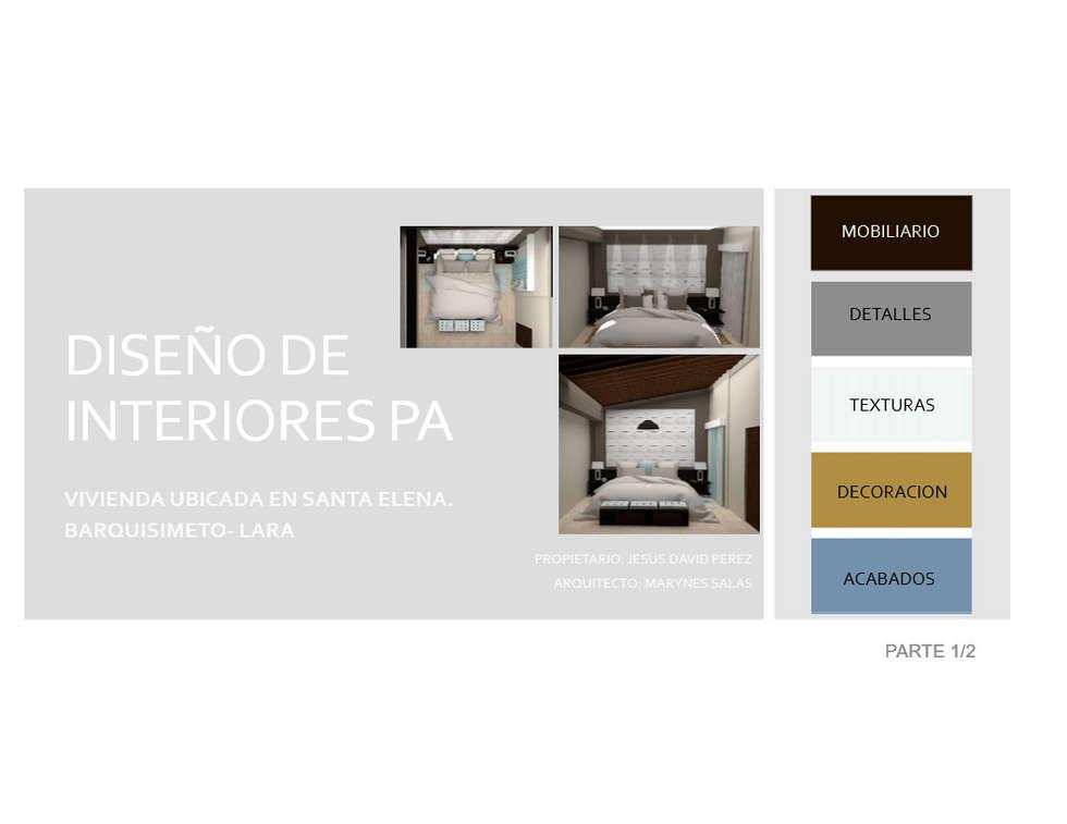 Espacios a Intervenir en Planta Alta: Cuartos de estilo moderno por Arq. Marynes Salas