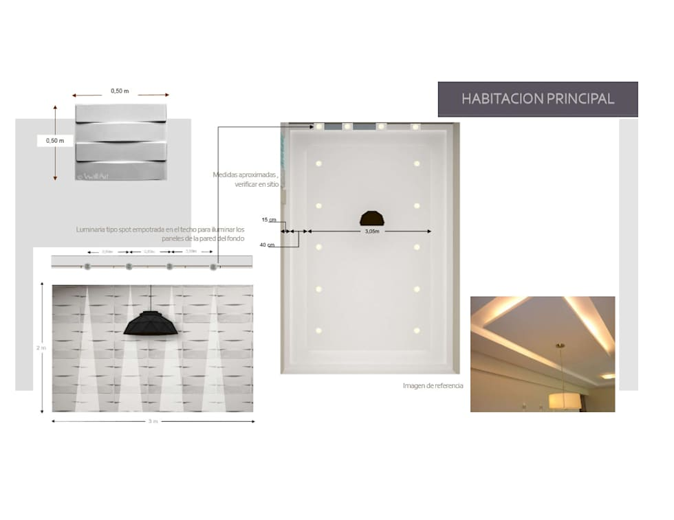 Iluminacion de Hab. Principal: Cuartos de estilo moderno por Arq. Marynes Salas
