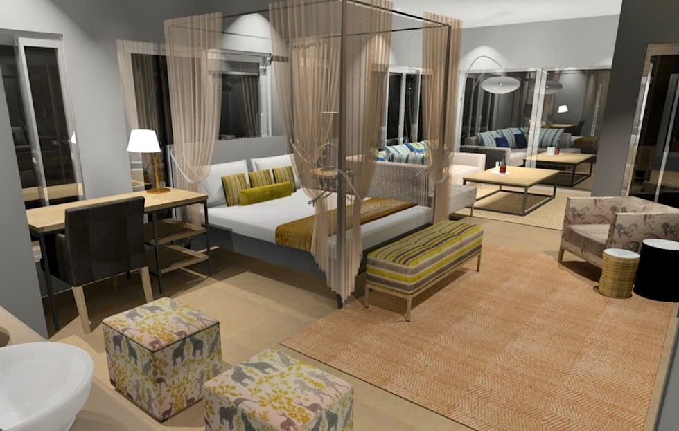 3D Renders: country Bedroom by Carne Interiors