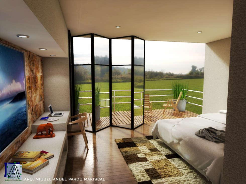 Reconfortante dormitorio con vista hacia la terraza: Recámaras de estilo moderno por PARMAR Arquitectura
