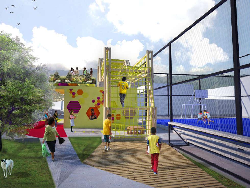Area de juegos para niños: Terrazas de estilo  por Taller de Desarrollo Urbano